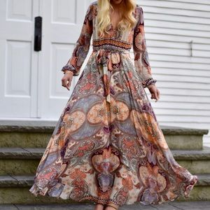 Lulu's Long Sleeve Flowy Maxi Dress